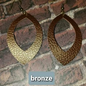 Handmade faux leather earrings BRONZE COLOR